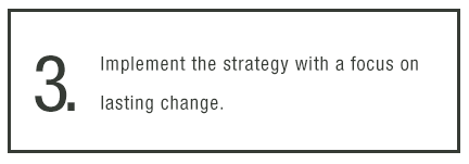 3. Implement the strategy with a focus on lasting change.